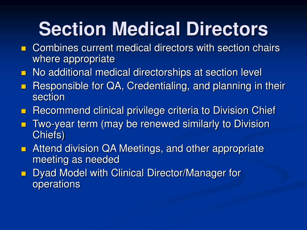 Section Medical Directors