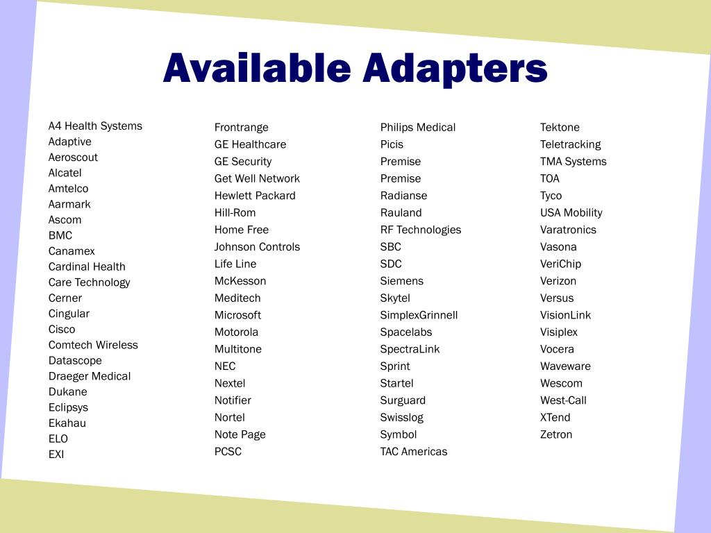 Available Adapters