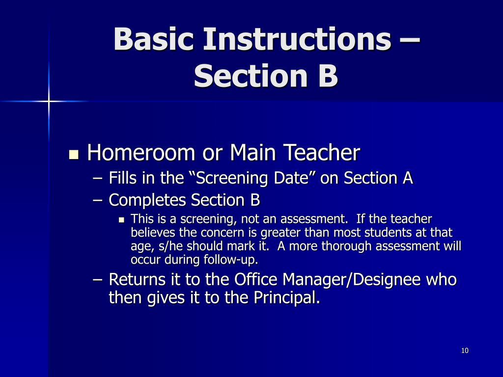 Basic Instructions – Section B
