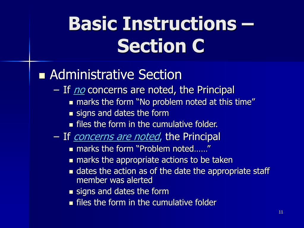 Basic Instructions – Section C