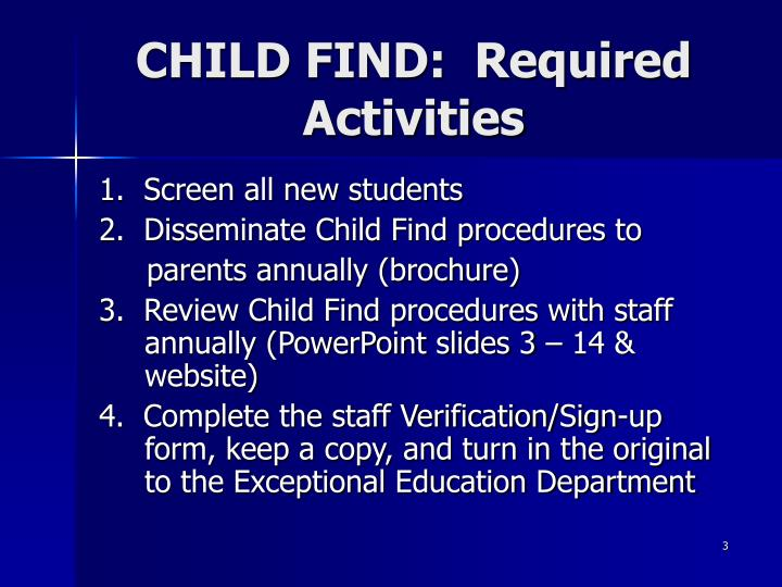 Child find required activities