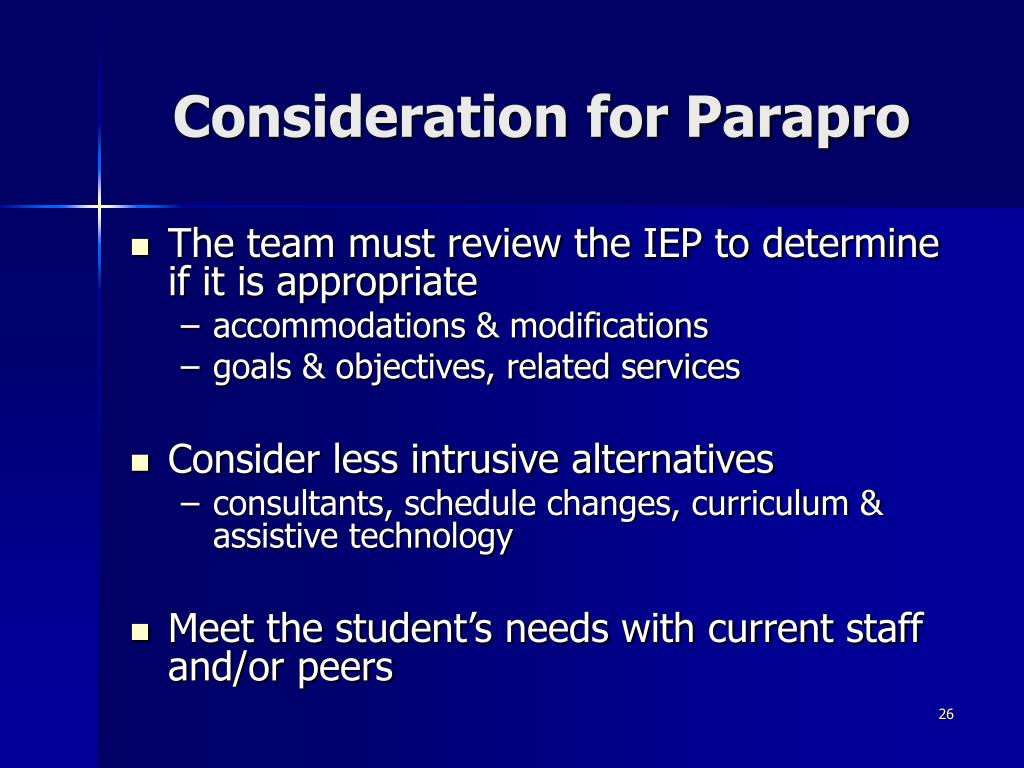 Consideration for Parapro