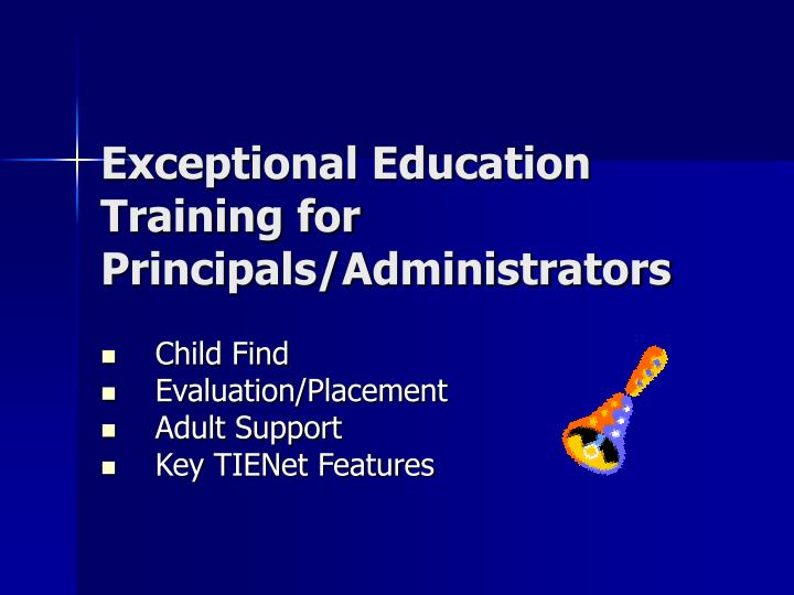 Exceptional education training for principals administrators
