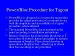 power bloc procedure for tagout