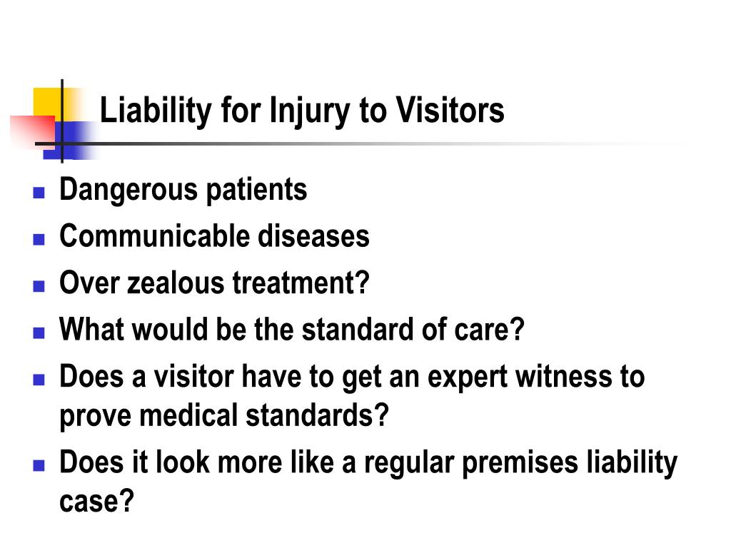 Liability for Injury to Visitors