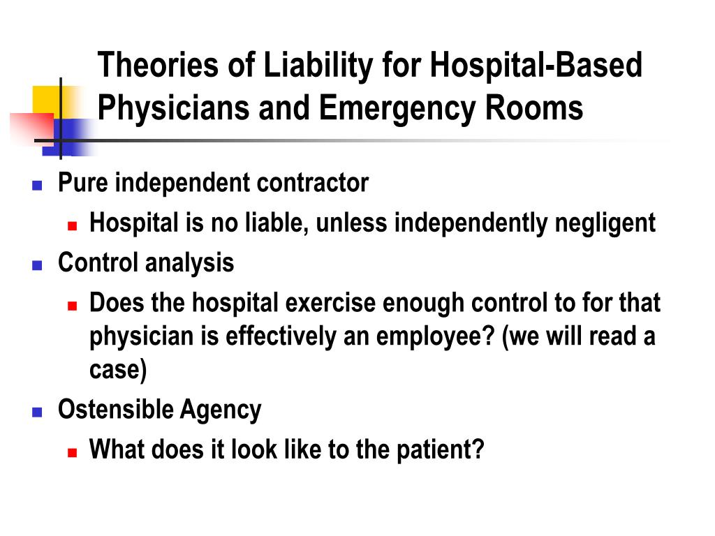 Theories of Liability for Hospital-Based Physicians and Emergency Rooms