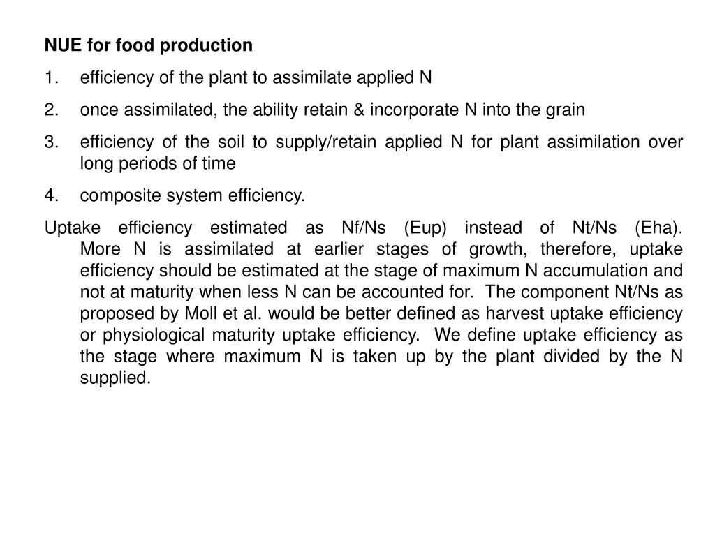 NUE for food production