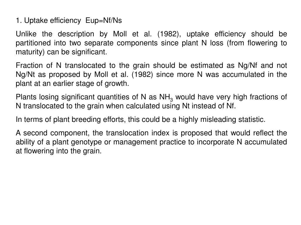 1. Uptake efficiency  Eup=Nf/Ns