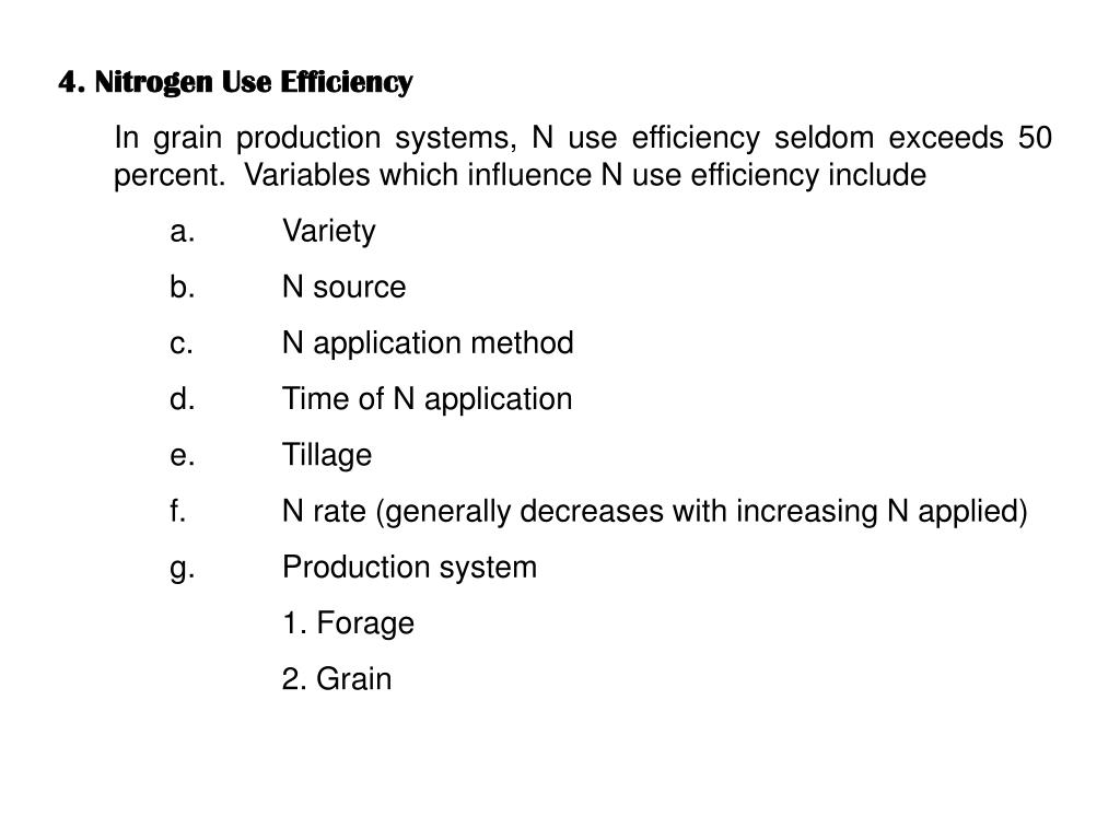 4. Nitrogen Use Efficiency