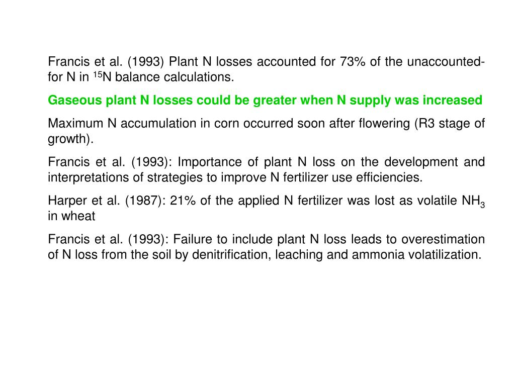 Francis et al. (1993) Plant N losses accounted for 73% of the unaccounted-for N in