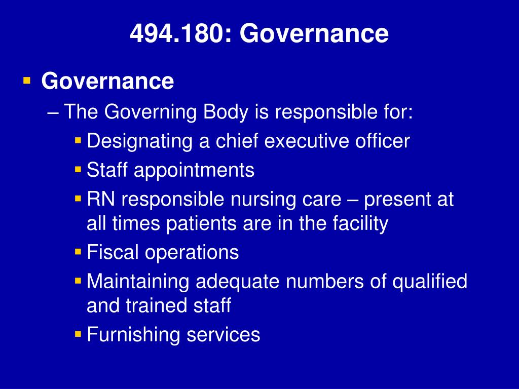 494.180: Governance