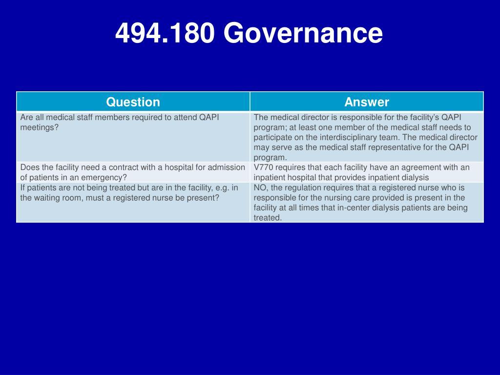 494.180 Governance