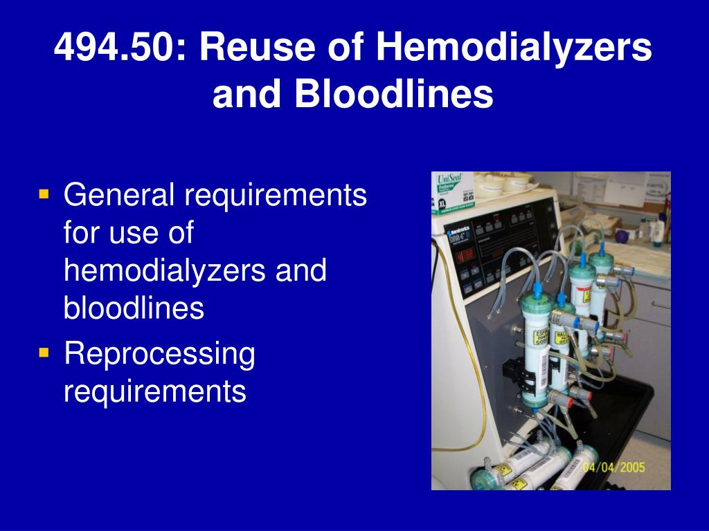 494.50: Reuse of Hemodialyzers and Bloodlines