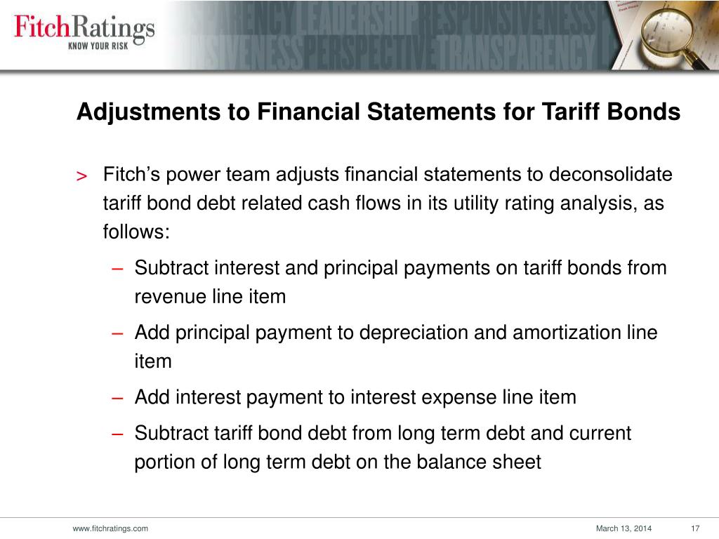 Adjustments to Financial Statements for Tariff Bonds