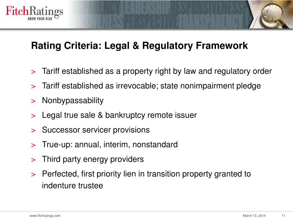 Rating Criteria: Legal & Regulatory Framework