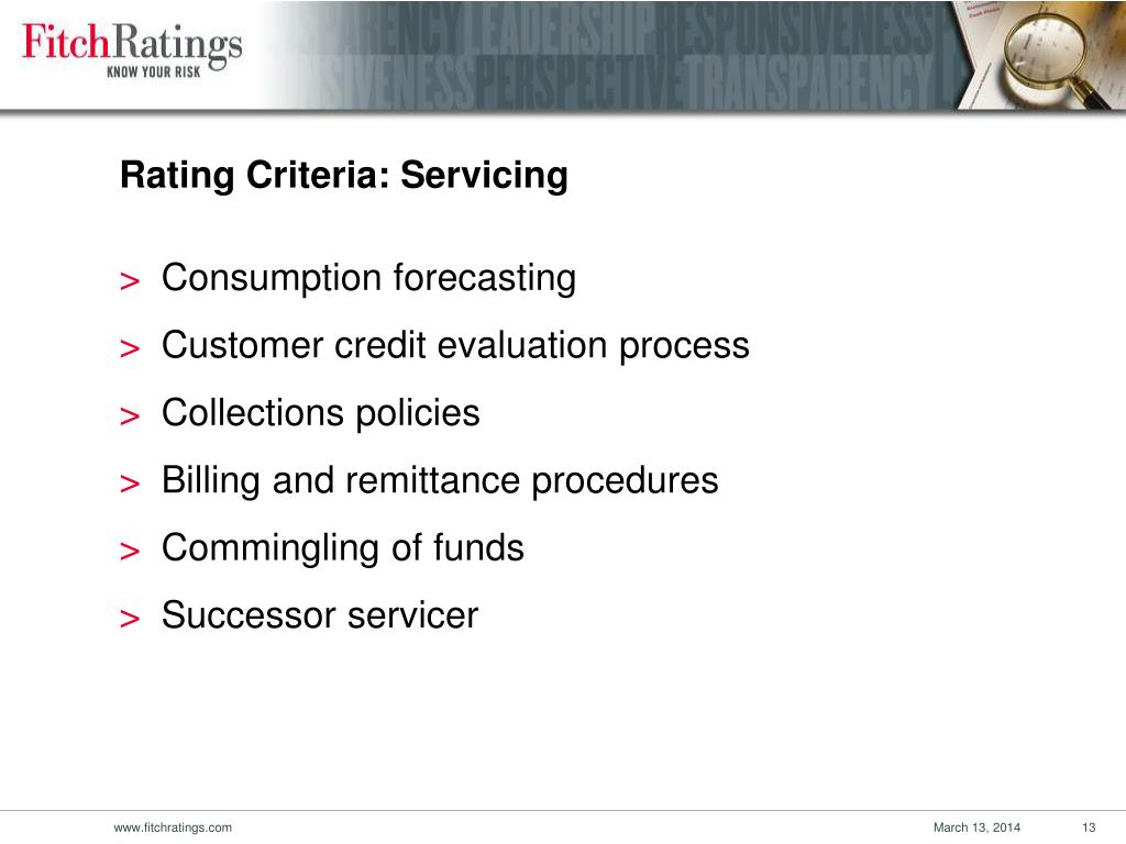 Rating Criteria: Servicing