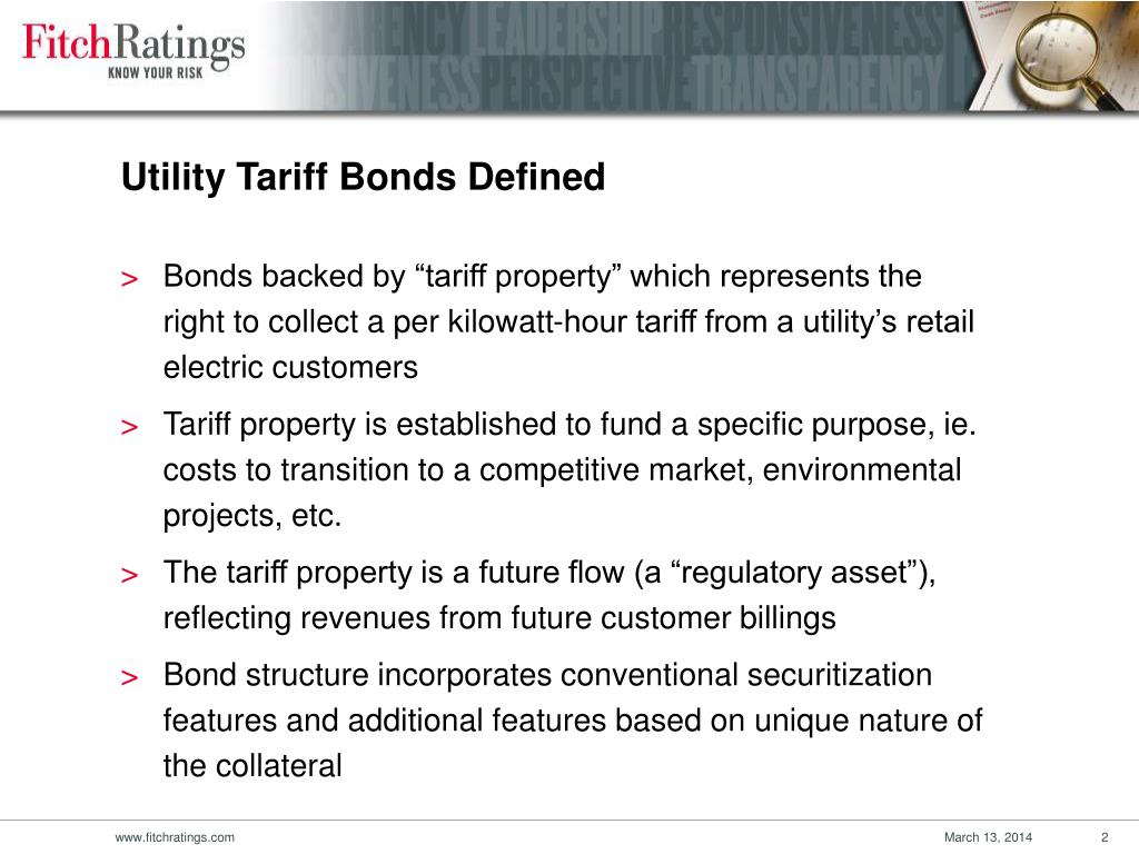 Utility Tariff Bonds Defined