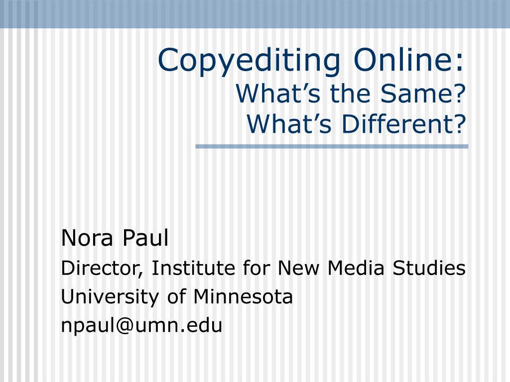 Copyediting Online: