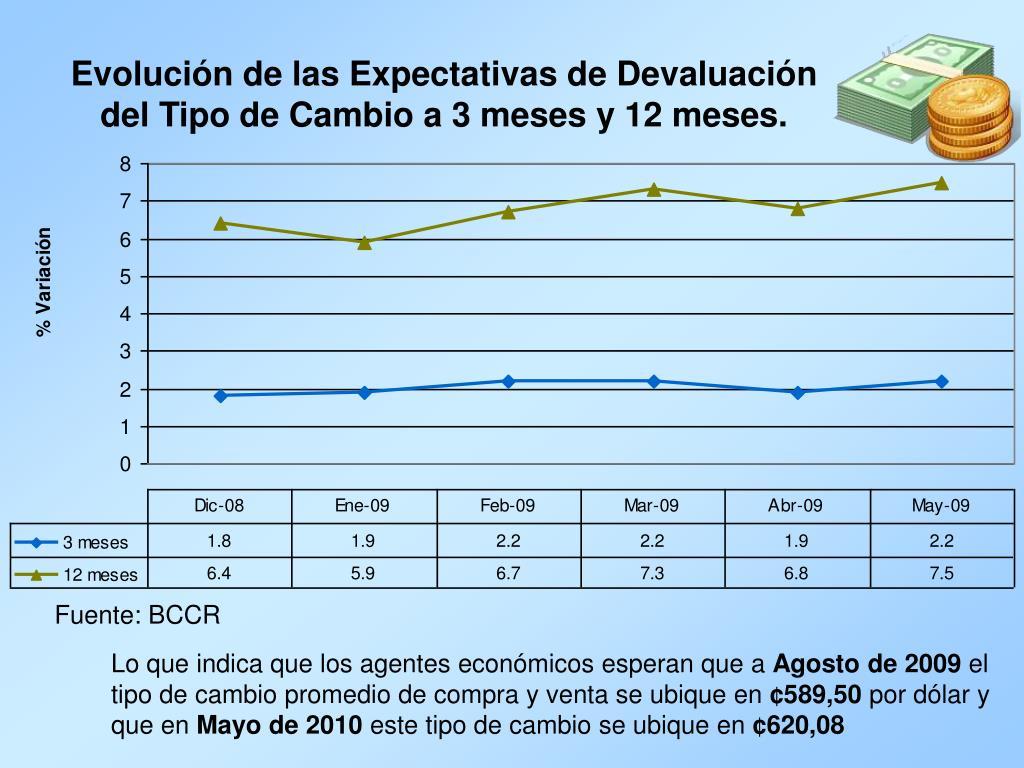 Evolución de las Expectativas de Devaluación del Tipo de Cambio a 3 meses y 12 meses.
