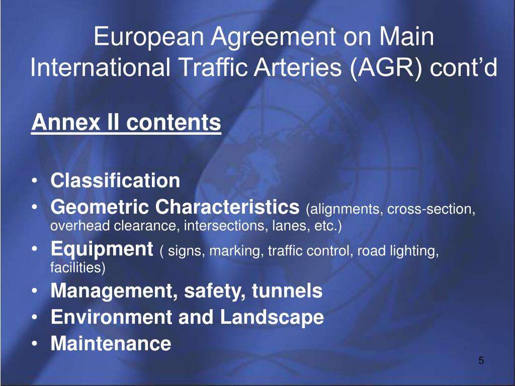 European Agreement on Main International Traffic Arteries (AGR) cont'd