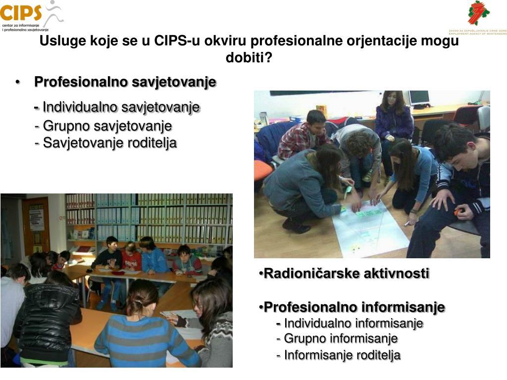 Usluge koje se u CIPS-u okviru profesionalne orjentacije mogu dobiti?