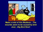 make a note of this muldoon the wounds seem to be caused by bird shot big bird shot