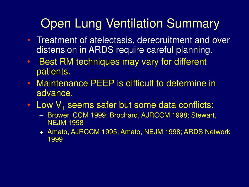 Open Lung Ventilation Summary