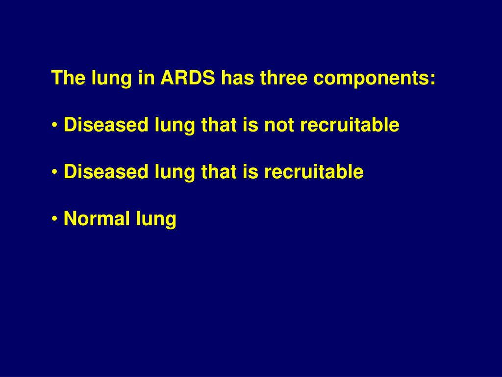 The lung in ARDS has three components: