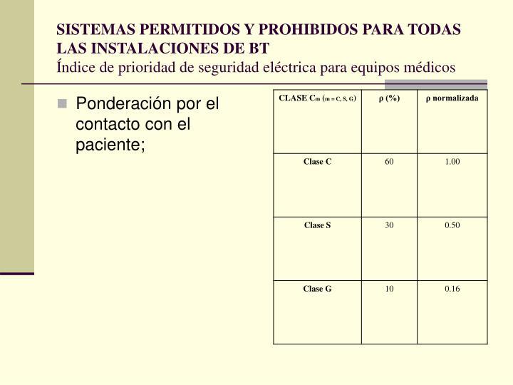 SISTEMAS PERMITIDOS Y PROHIBIDOS PARA TODAS LAS INSTALACIONES DE BT