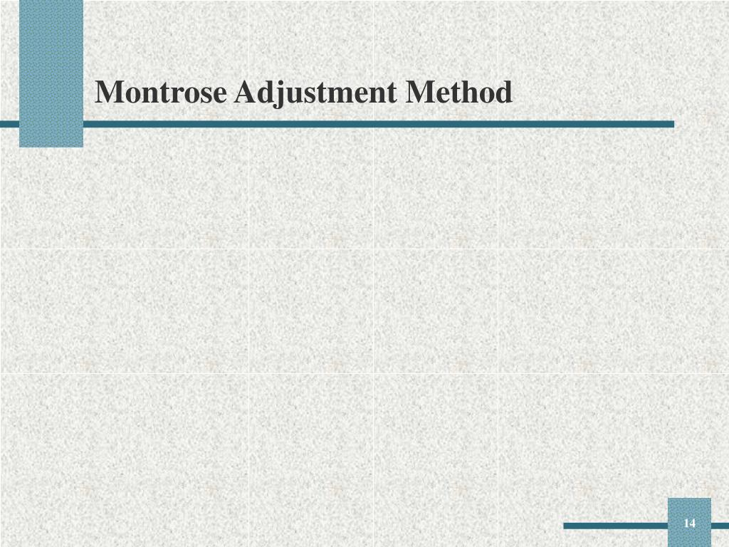 Montrose Adjustment Method