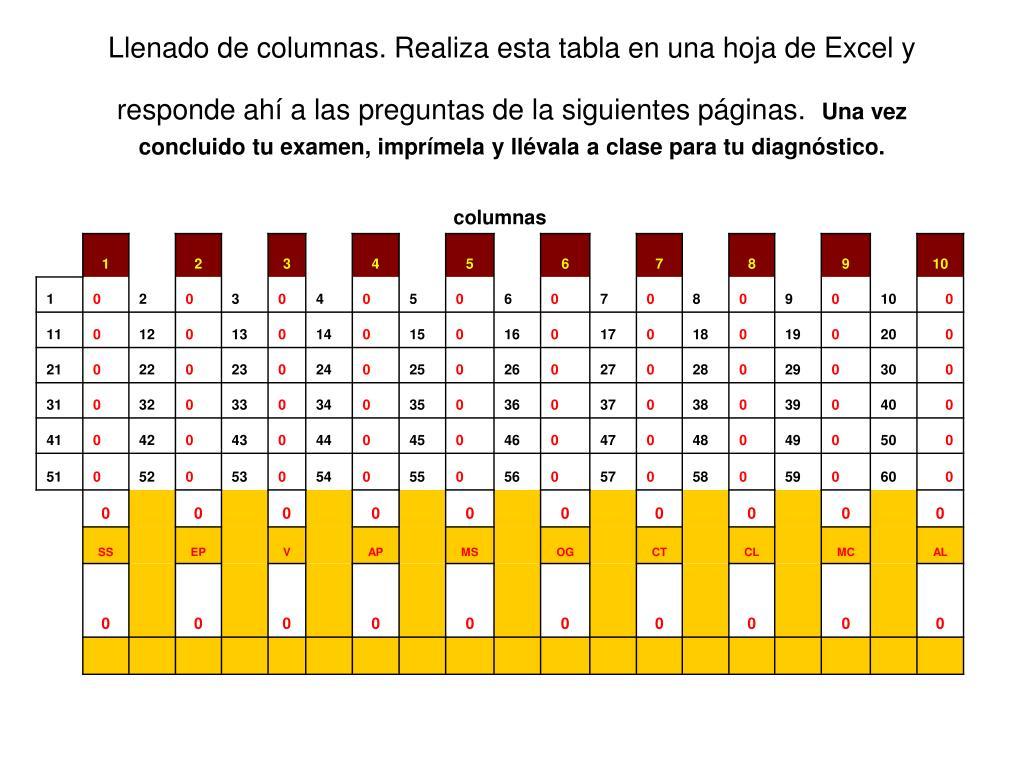 Llenado de columnas. Realiza esta tabla en una hoja de Excel y responde ahí a las preguntas de la siguientes páginas.