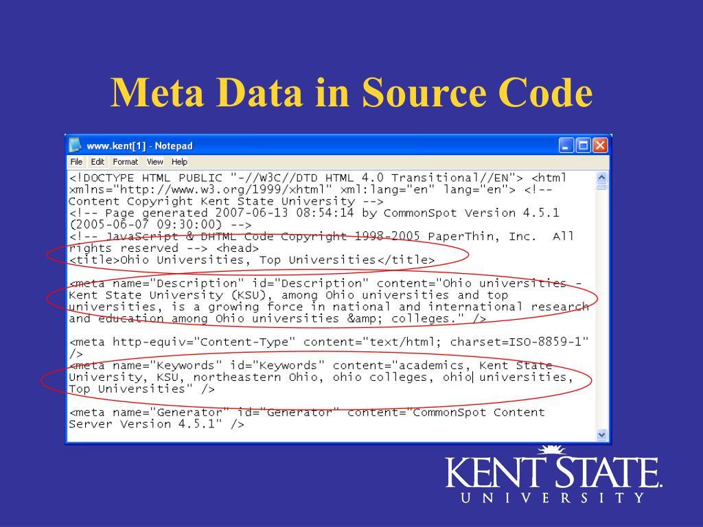 Meta Data in Source Code