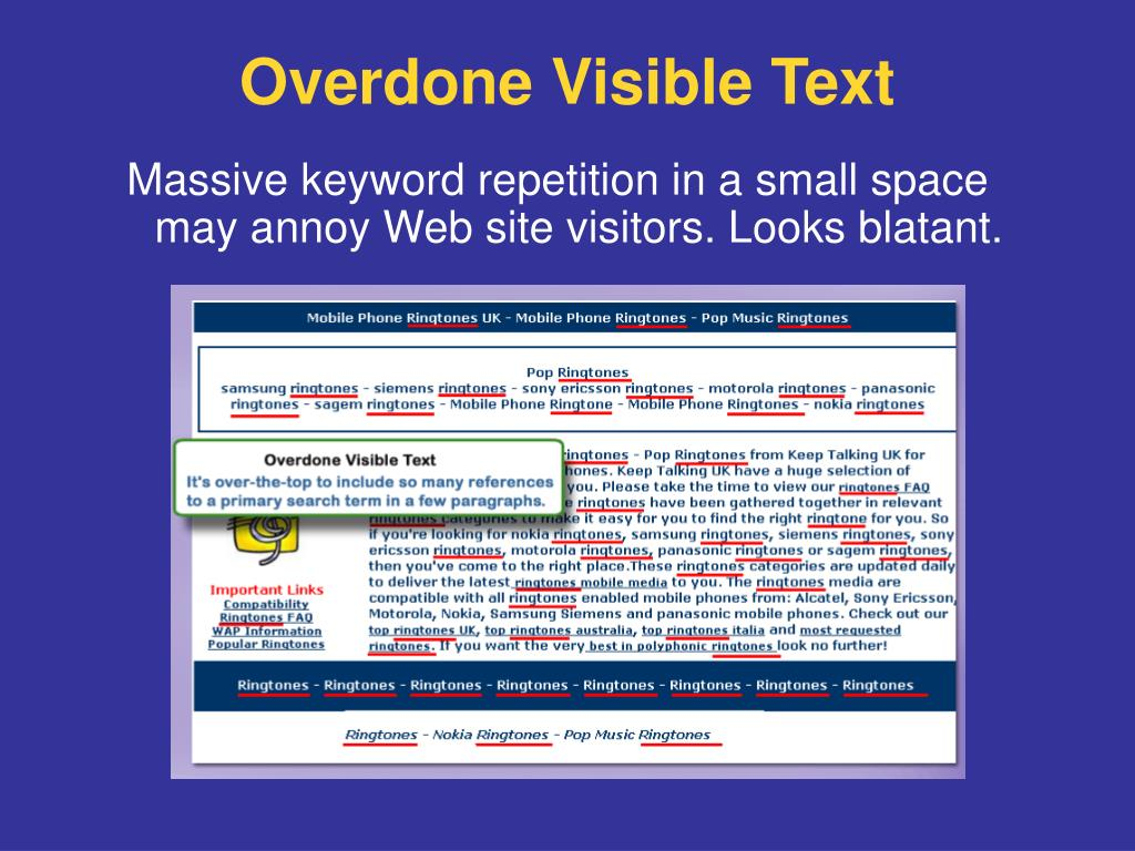 Massive keyword repetition in a small space may annoy Web site visitors. Looks blatant.