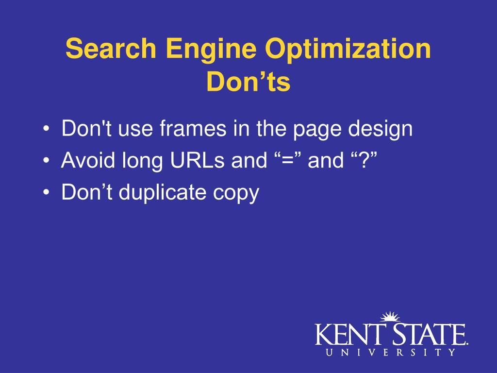 Search Engine Optimization Don'ts
