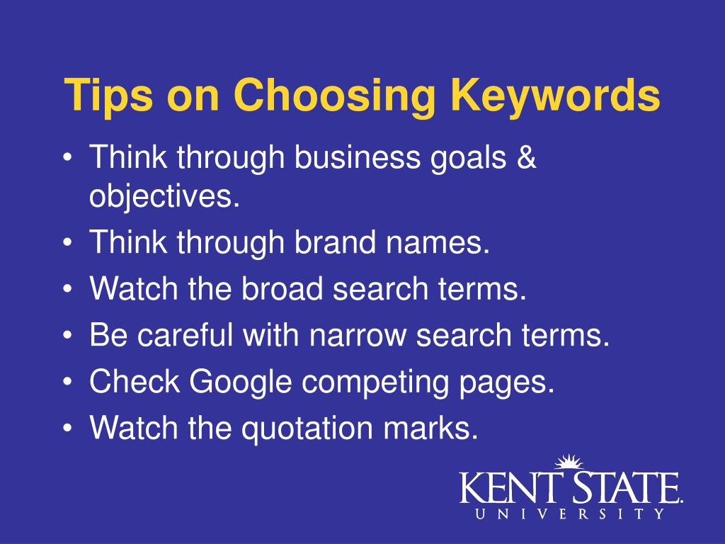 Tips on Choosing Keywords