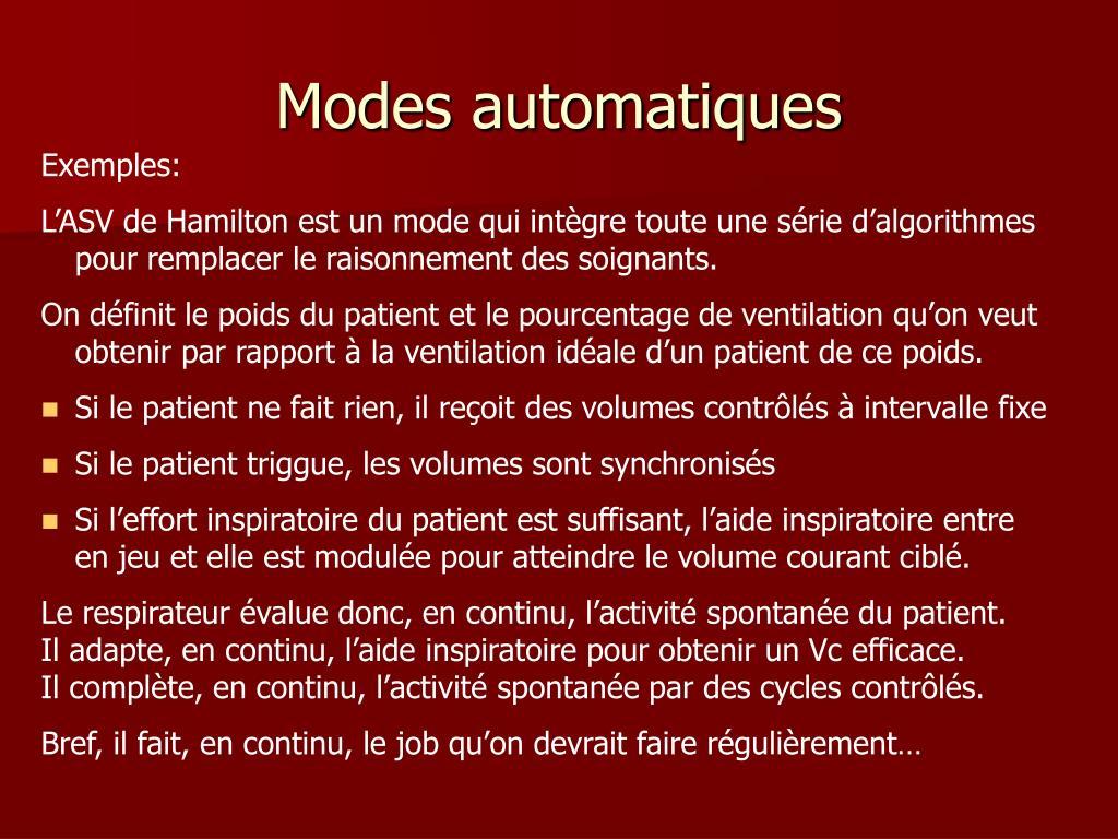 Modes automatiques