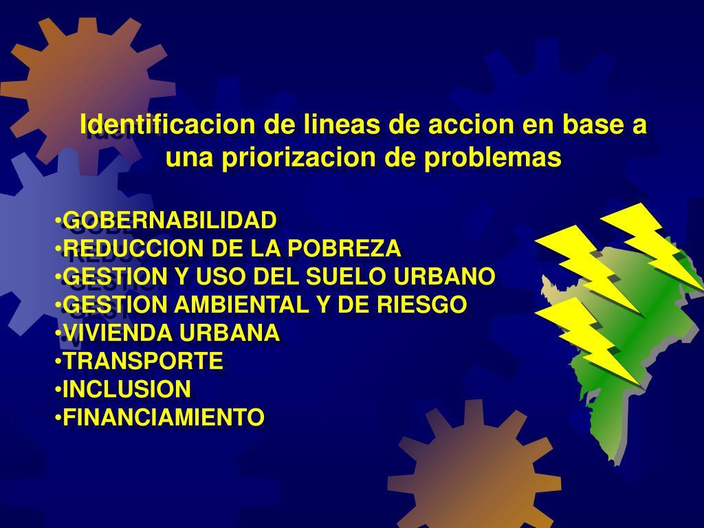 Identificacion de lineas de accion en base a una priorizacion de problemas