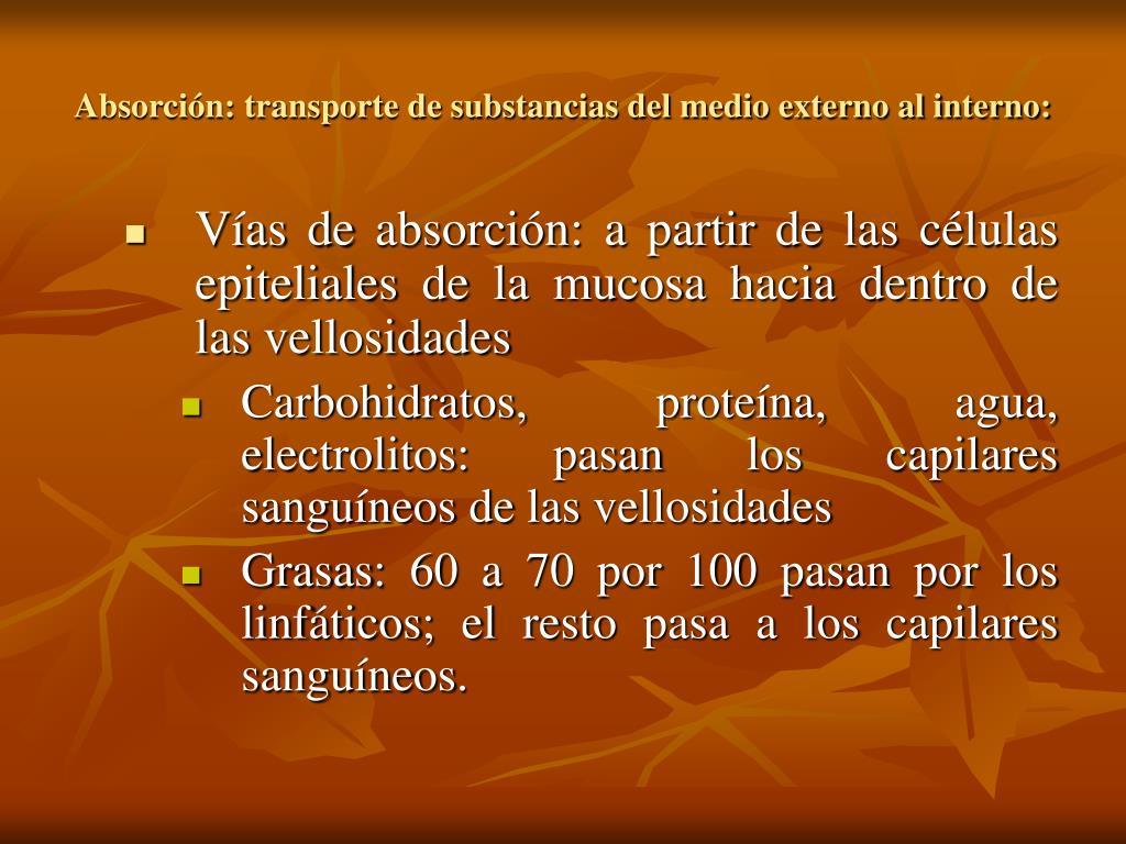 Absorción: transporte de substancias del medio externo al interno: