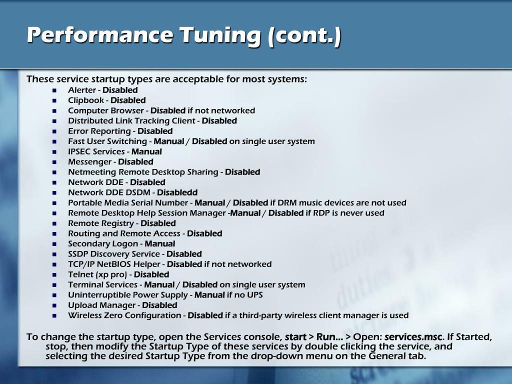 Performance Tuning (cont.)