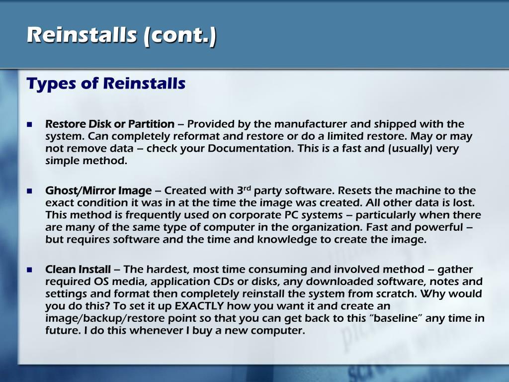 Reinstalls (cont.)