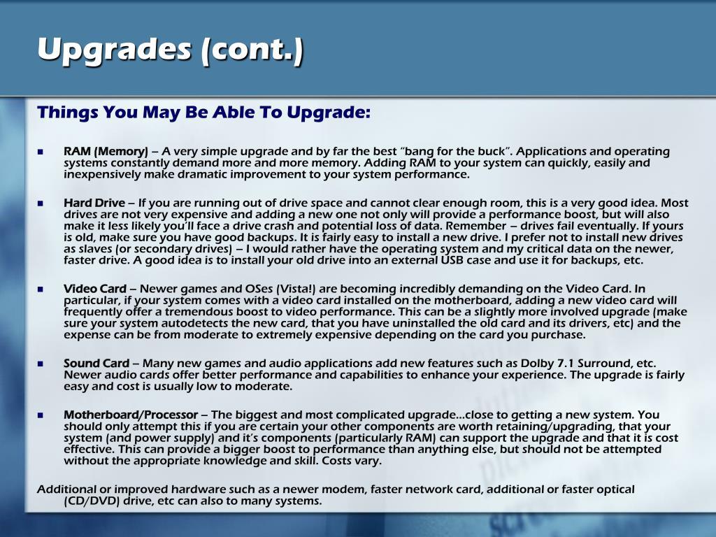 Upgrades (cont.)