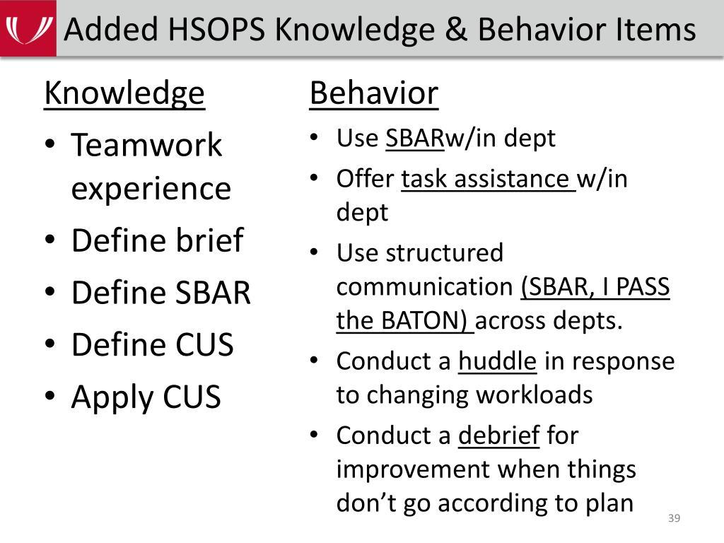 Added HSOPS Knowledge & Behavior Items