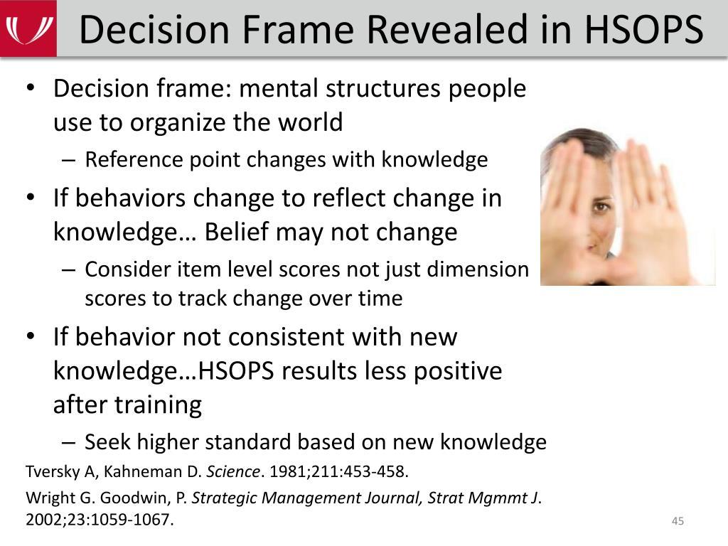 Decision Frame Revealed in HSOPS