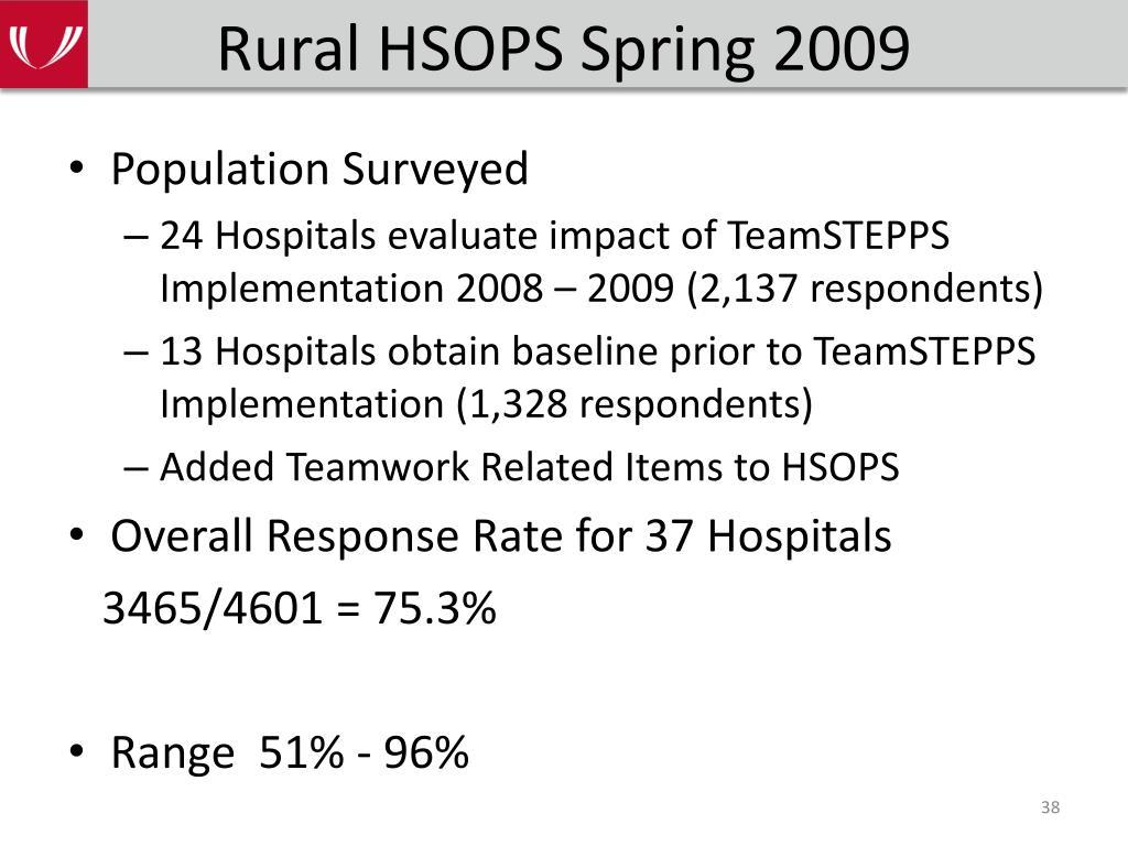 Rural HSOPS Spring 2009