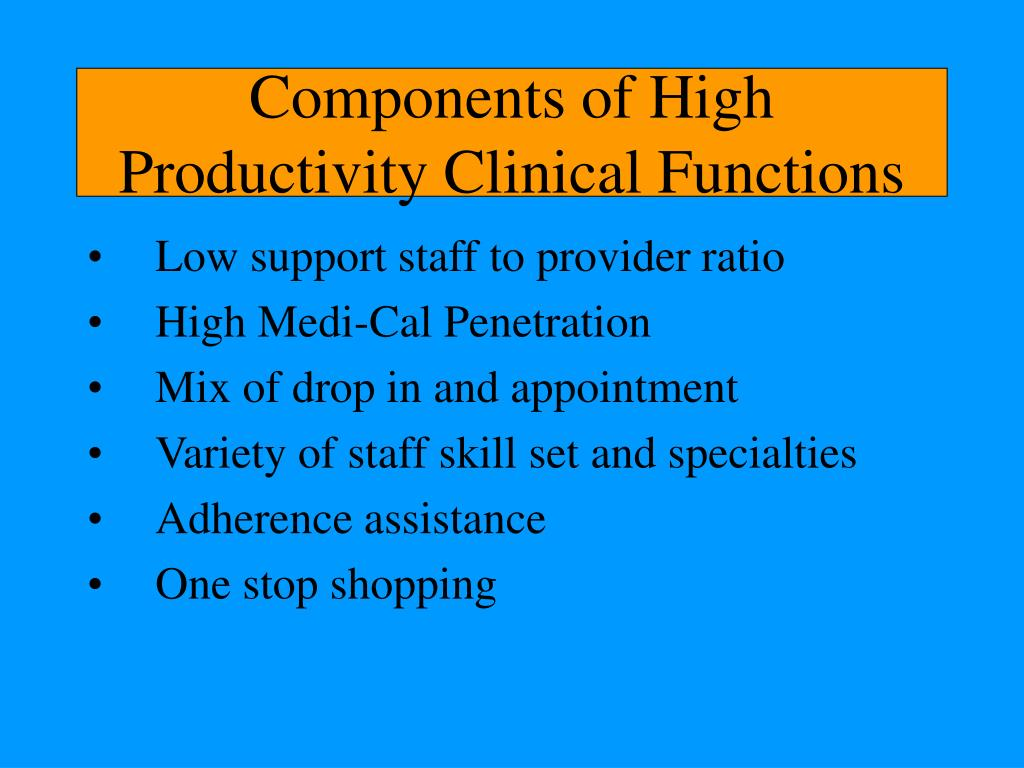 Components of High Productivity Clinical Functions