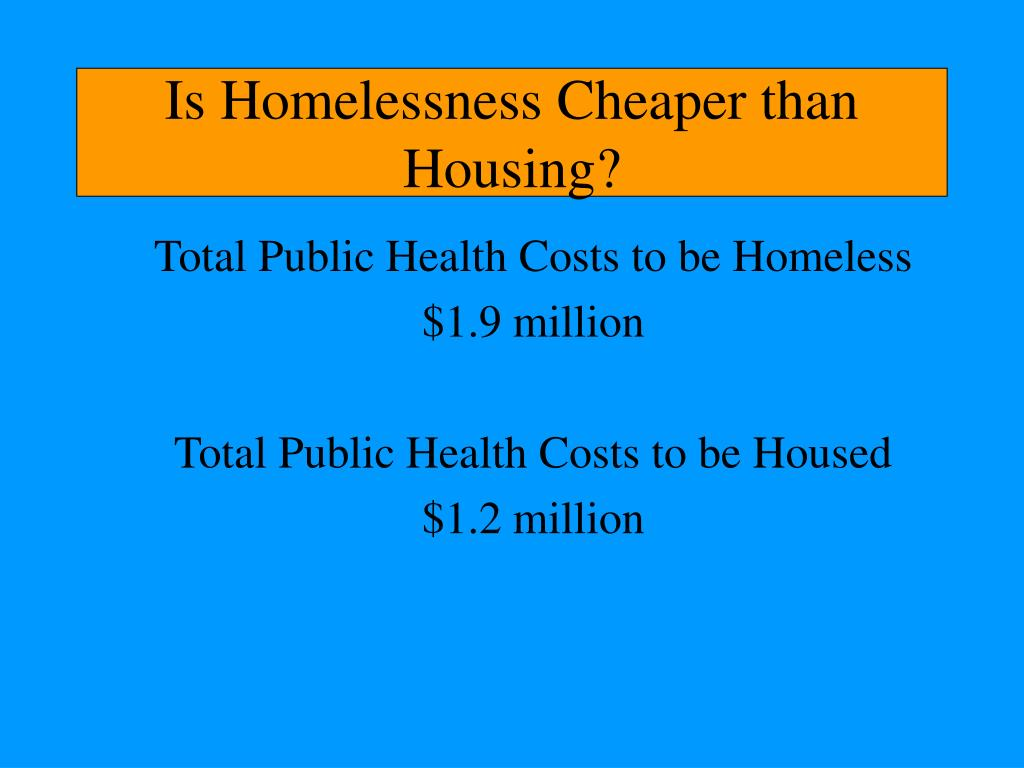 Is Homelessness Cheaper than Housing?