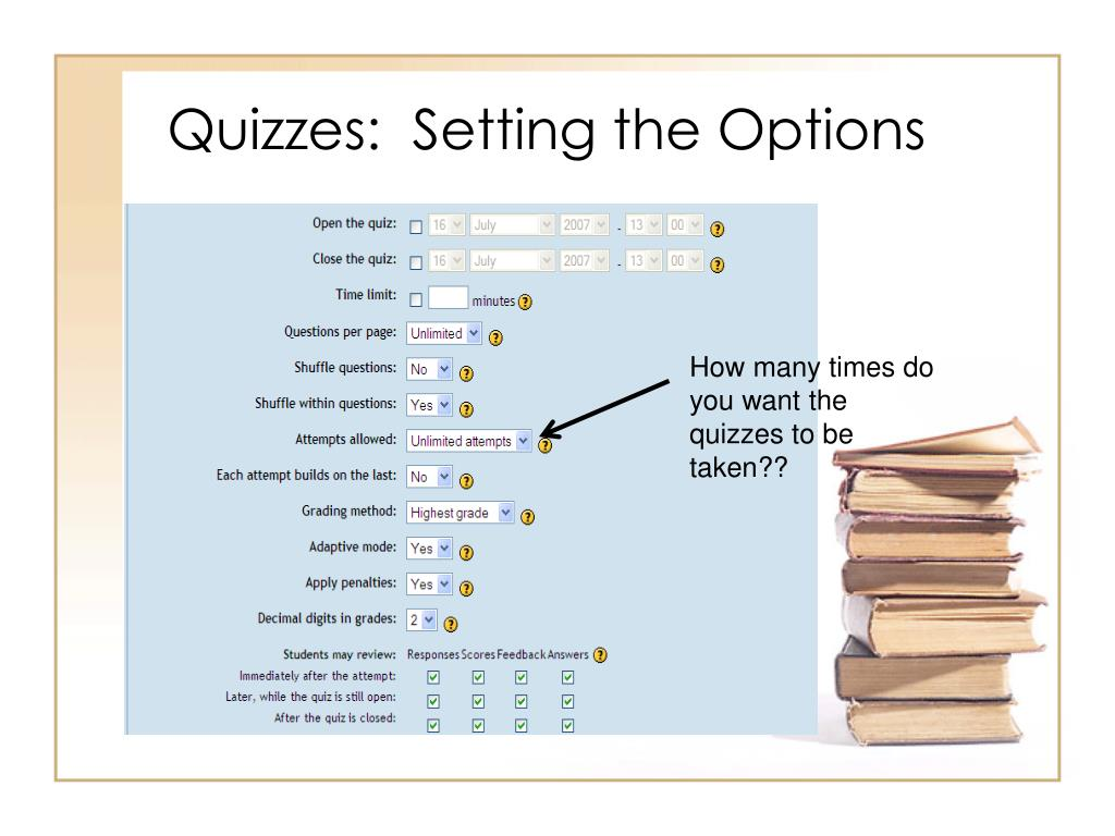 Quizzes:  Setting the Options