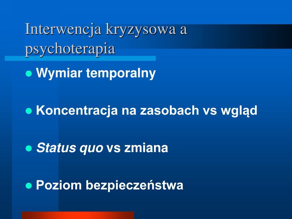 Interwencja kryzysowa a psychoterapia