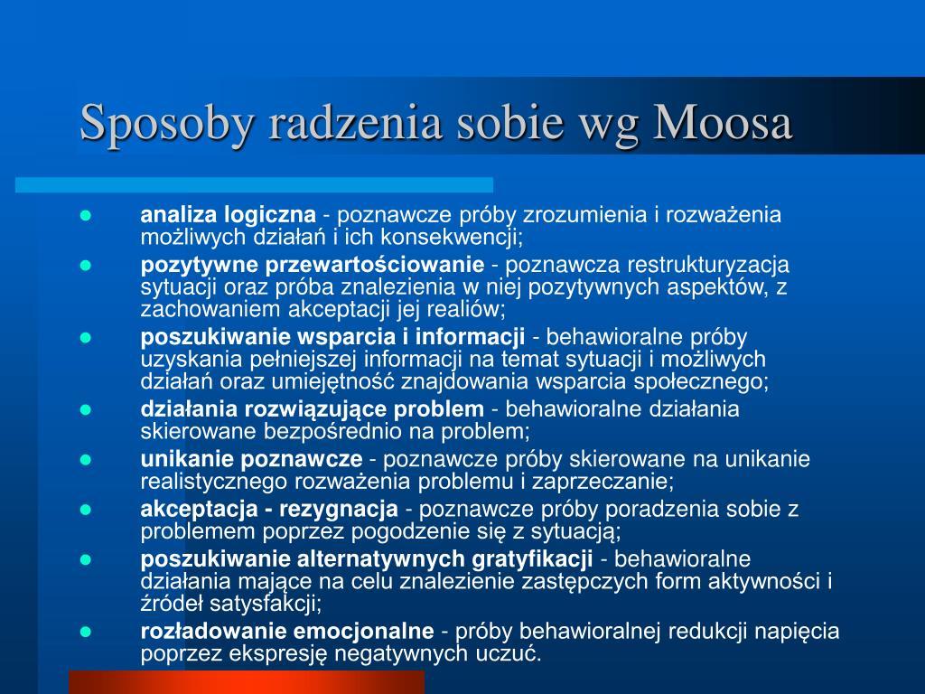 Sposoby radzenia sobie wg Moosa