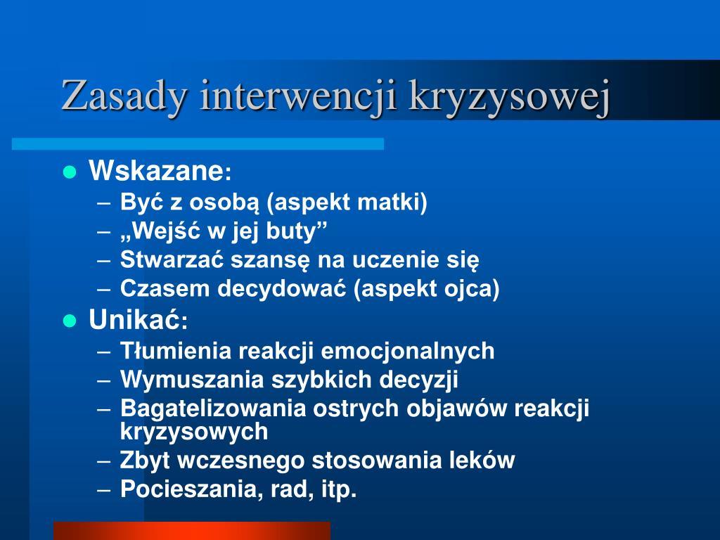 Zasady interwencji kryzysowej
